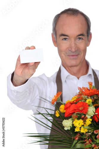 Florist showing business card