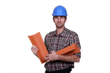 Roofer on white background