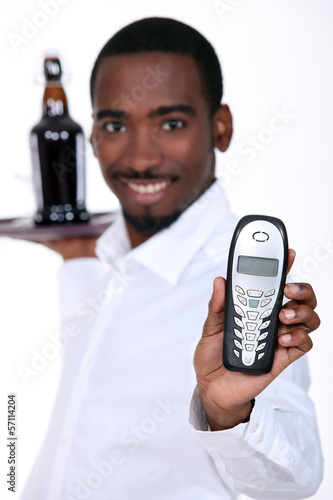 waiter with telephone