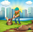 A man chopping woods across the tall buildings