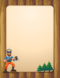 An empty wooden frame with a lumberjack holding an axe across th