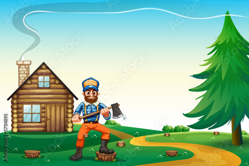 A hilltop with a native house and a lumberjack