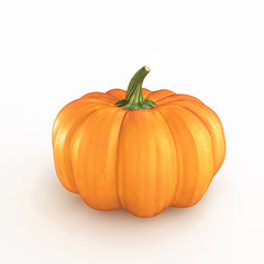 Orange pumpkin on a white background. 3d render
