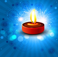 Beautiful dewali diya card colorful design illustration