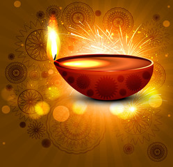Greeting card diwali colorful vector background