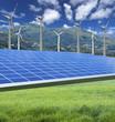 ferme solaire et champ d'éoliennes