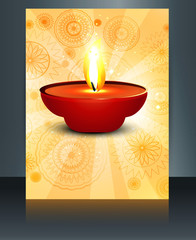 illustration of decorated Diwali diya brochure template colorful
