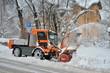 canvas print picture - Winterdienst mit Schneeschleuder im Einsatz