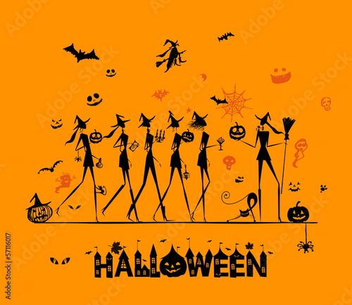 Halloween holiday, young witches for your design