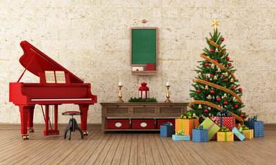 Vintage christams room with red grand-piano