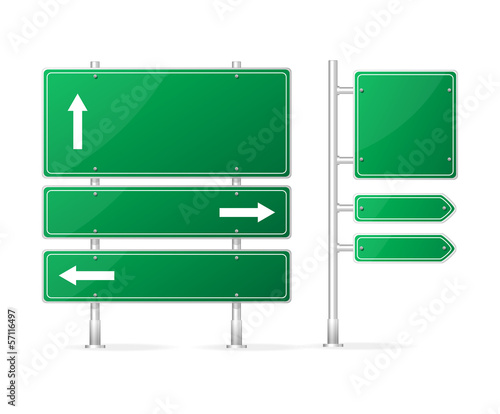 Vector Blank green Road Sign