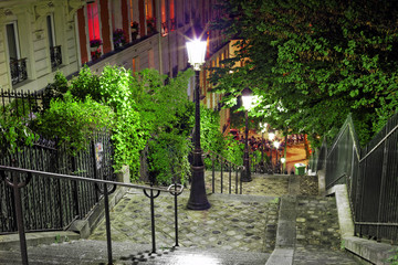 Stairs on the way to the basilica Sacre-Coeur. Paris.
