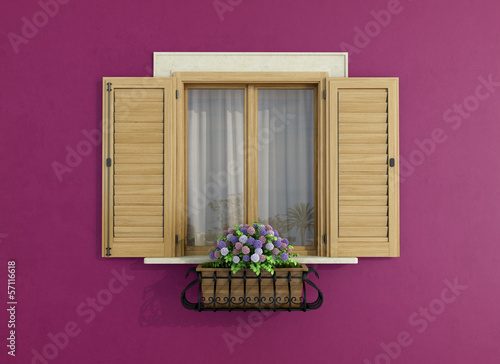 canvas print picture Purple facade with closed windows