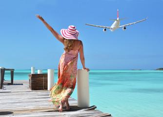 Girl on the wooden jetty. GreatExuma, Bahamas
