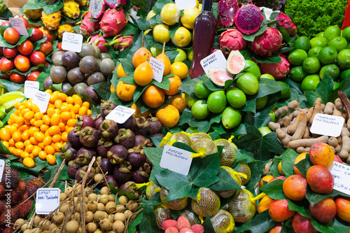 Exotic fruits and berries at  Spanish market