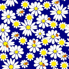 Seamless background with daisies and ladybirds