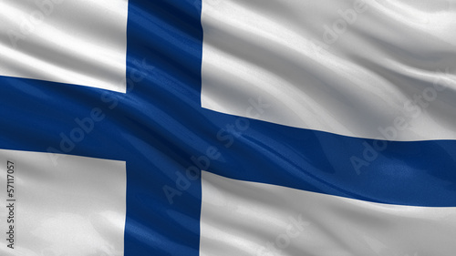 Flag of Finland waving in the wind