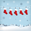 christmas stockings in winter landscape