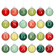 Advent Calendar Christmas Balls Lines Green/Red/Silver