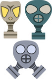 Vector pack of three gas masks