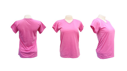 set of female tshirt template on the mannequin