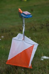 Orienteering control point in field