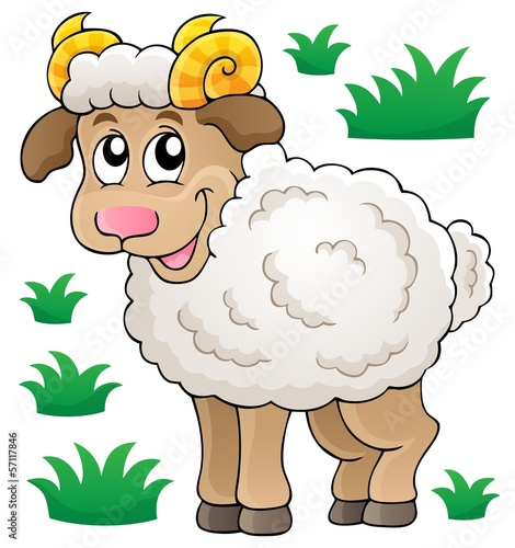 Happy cartoon ram