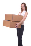 Young woman carrying box