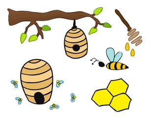Beehives vector drawing