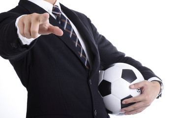Football manager hold ball for command player