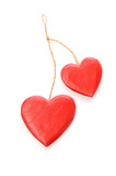 Red wooden heart shape