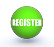 register sphere button on white background
