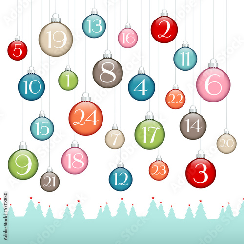 Christmas Balls Advent Calendar Forest Retro/Silver