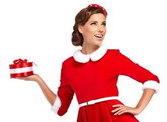 Vintage sexy girl wearing santa claus clothes