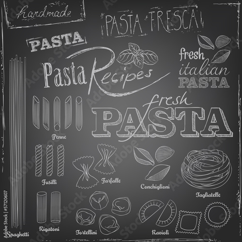 Pasta elements on a chalkboard