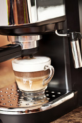 coffee is freshly made with a coffee machine