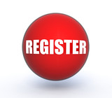 register sphere button on white background