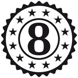 Number 8 Stamp Star Design