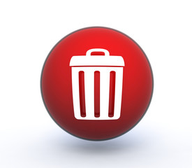 trash can sphere icon on white background