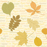 Seamless pattern with leaves on text background