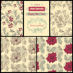 Patterns with poinsettia and holly berry