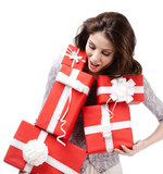 Pretty woman hands a number of boxes with presents, isolated