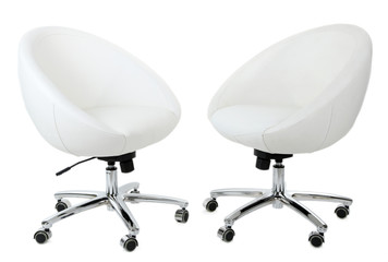 White chairs isolated on white