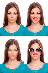 Young woman expressions