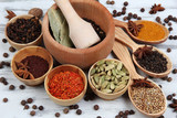Various spices and herbs on table close up - 57124250