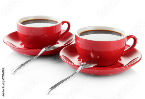 Red cups of strong coffee isolated on white