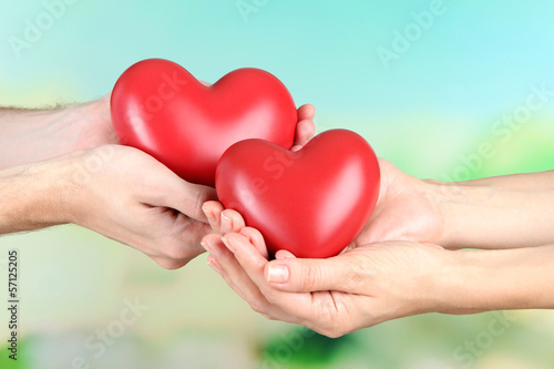 Hearts in hands on nature background