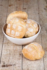 fresh baked buns in a bowl