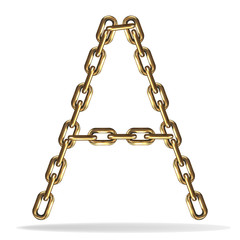 Golden Letter A, made with chains