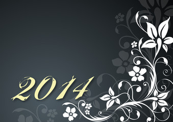 "Floral vector template ""Happy New Year 2014"""